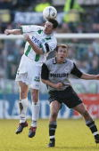 Arnold Kruiswijk of Groningen in action against Arjen Robben of PSV during the Dutch First Division league match between FC Groningen and PSV...