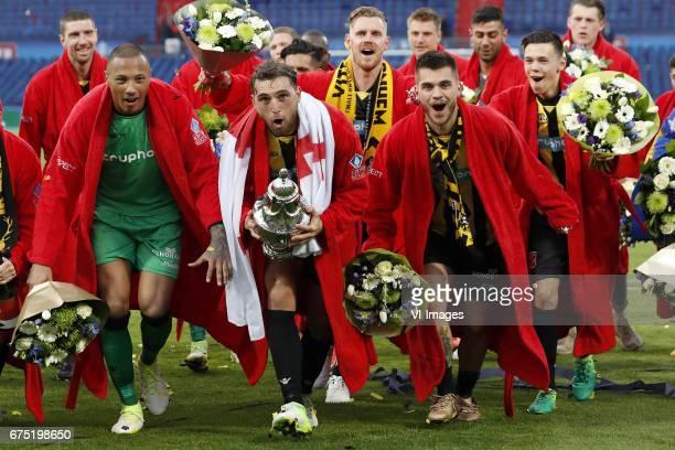 Arnold Kruiswijk of Vitesse goalkeeper Elroy Room of Vitesse Guram Kashia of Vitesse Maikel van der Werff of Vitesse Nathan de Souza of Vitesse...