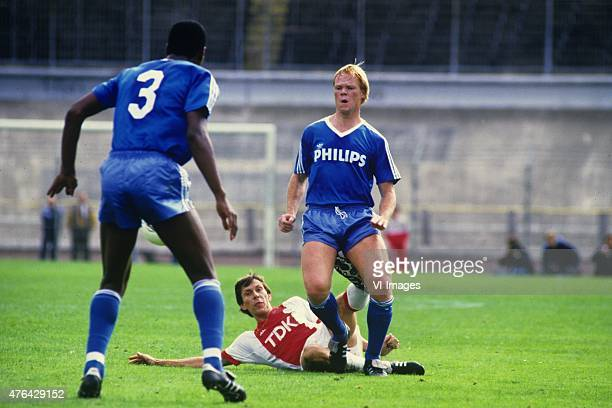 Arnold Muhren of Ajax Ronald Koeman of PSV during the Dutch Eredivisie match between Ajax and PSV in the season 1986/1987 in Amsterdam the Netherlands
