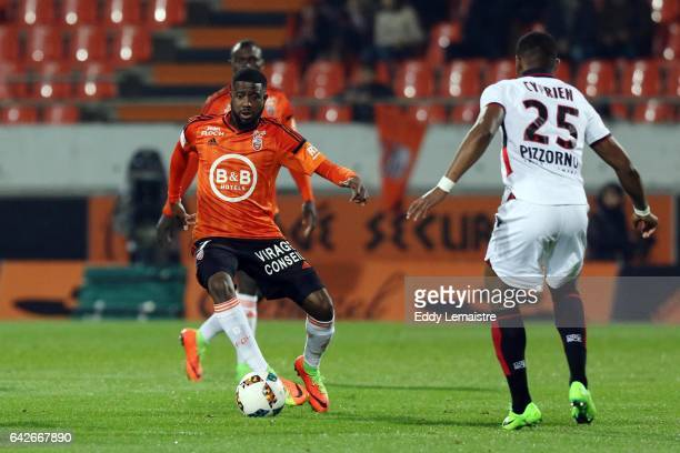 Arnold Mvuemba of Lorient and Wylan Cyprien of Nice during the French Ligue 1 match between Lorient and Nice at Stade du Moustoir on February 18 2017...