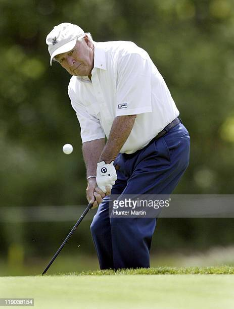Arnold Palmer chips onto the 14th hole during The 66th Senior PGA Championship 2nd Round Laurel Valley CC Ligonier Pa May 27th 2005