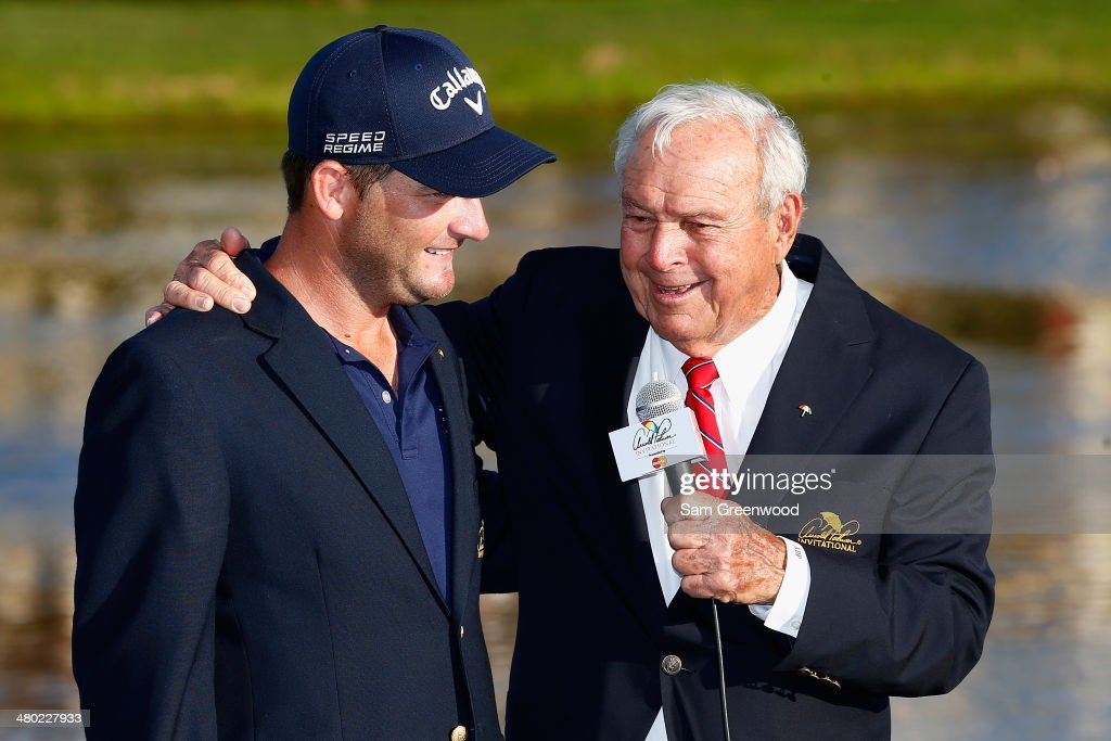 Arnold Palmer (R) congratulates Matt Every (L) of the United States on winning the Arnold Palmer Invitational presented by MasterCard at the Bay Hill Club and Lodge on March 23, 2014 in Orlando, Florida.