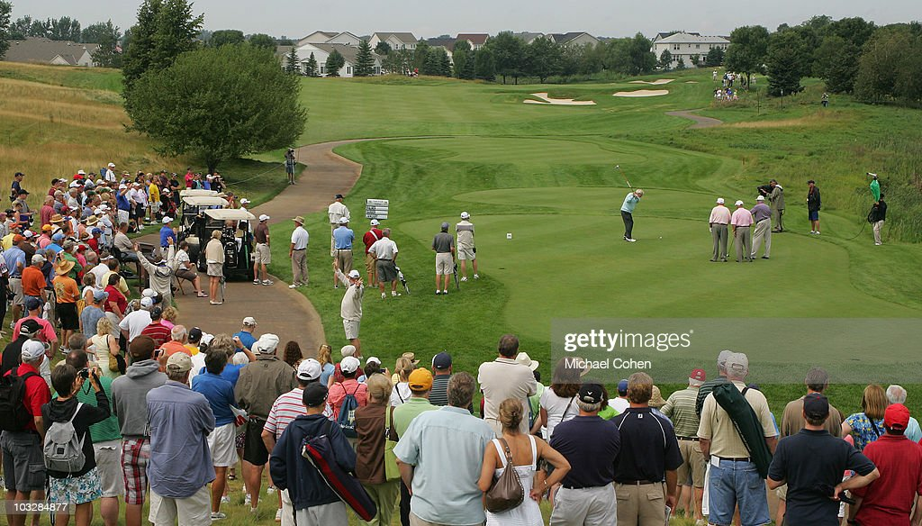 Arnold Palmer hits his drive on the first tee box as fans look on during the Greats of Golf exhibition during the second round of the 3M Championship at TPC Twin Cities held on August 7, 2010 in Blaine, Minnesota.