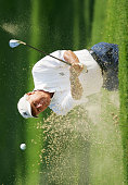 Arnold Palmer hits his third shot on the 4th hole during the second round of the Senior PGA Championship on May 27 2005 at Laurel Valley Golf Club in...