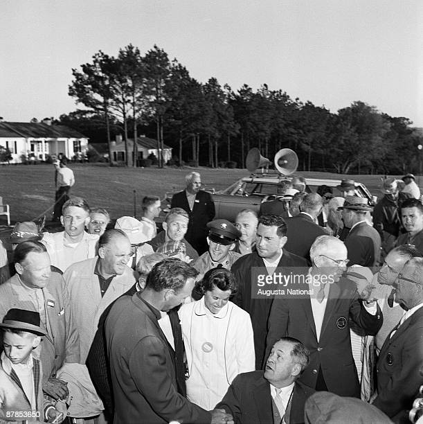 Arnold Palmer is congratulated by Bobby Jones after winning the 1960 Masters Tournament at Augusta National Golf Club in April 1960 in Augusta Georgia