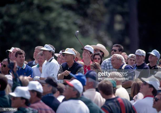 Arnold Palmer of the United States and Jack Nicklaus during the US Masters Golf Tournament held at the Augusta National Golf Club in Augusta circa...