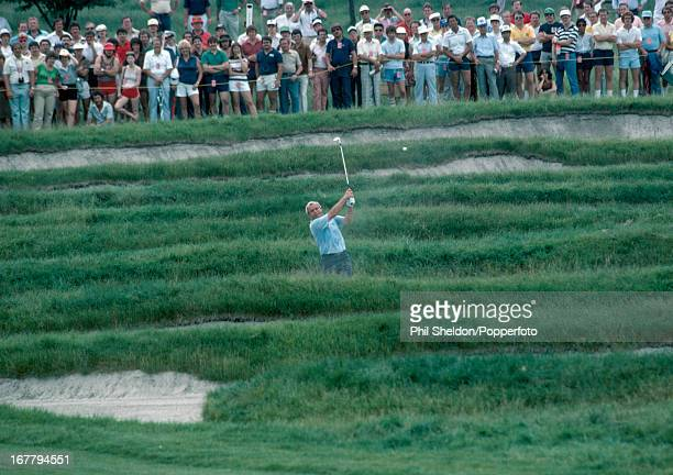 Arnold Palmer of the United States hits out of the 'Church Pews' during the US Open Golf Championship held at the Oakmont Golf Club in Pennsylvania...