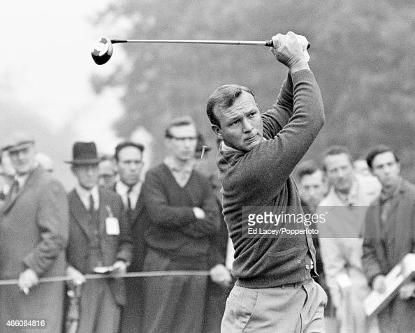 Arnold Palmer of the United States in action during the Piccadilly World Match Play Championship at Wentworth Golf Club in Surrey circa October 1965