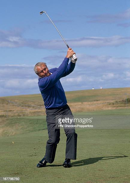 Arnold Palmer of the United States in action during the Seniors Open Golf Championship held at Turnberry Golf Club in Scotland circa 1989