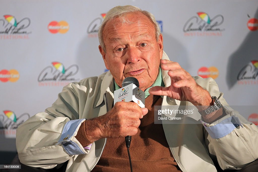 Arnold Palmer of the United States in his media conference during the pro-am for the 2013 Arnold Palmer Invitational Presented by Mastercard at Bay Hill Golf and Country Club on March 20, 2013 in Orlando, Florida.