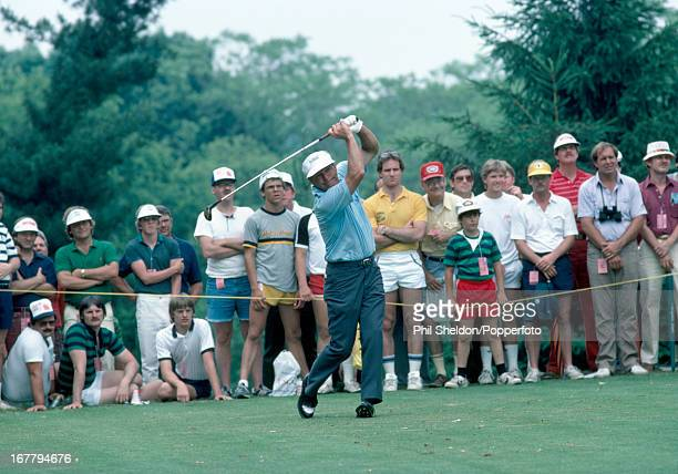 Arnold Palmer of the United States tees off during the US Open Golf Championship held at the Oakmont Golf Club in Pennsylvania circa June 1983