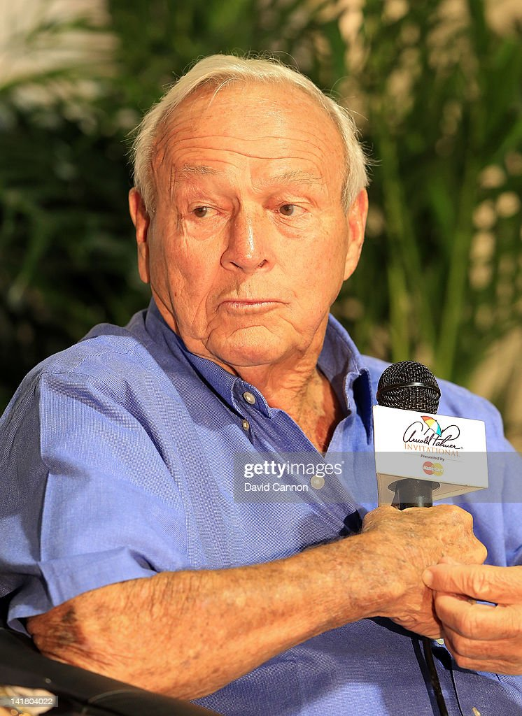 Arnold Palmer of the USA during the media conference to announce the 2012 PNC Father Son Challenge to be held in December during the third round of the 2012 Arnold Palmer Invitational presented by MasterCard at Bay Hill Club and Lodge on March 24, 2012 in Orlando, Florida.