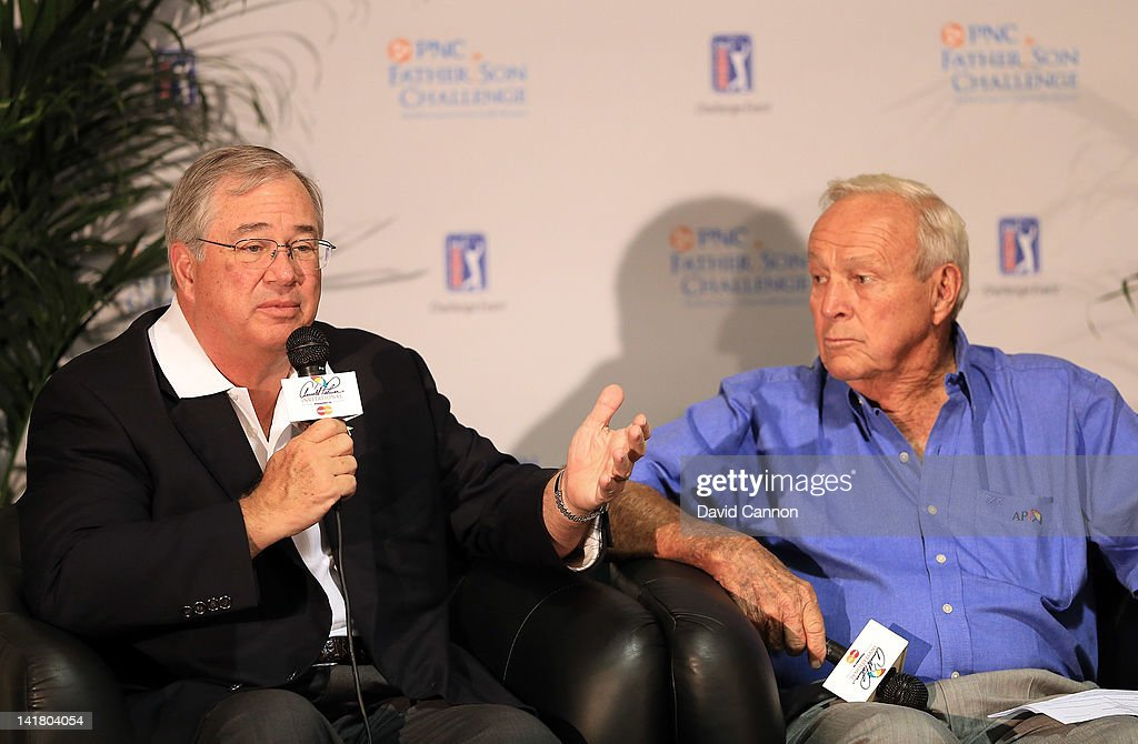 Arnold Palmer of the USA with James E Rohr CEO of PNC Financial Service during the media conference to announce the 2012 PNC Father Son Challenge to be held in December during the third round of the 2012 Arnold Palmer Invitational presented by MasterCard at Bay Hill Club and Lodge on March 24, 2012 in Orlando, Florida.