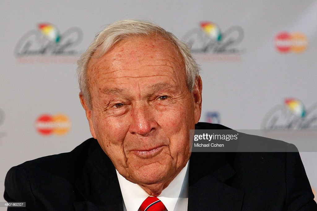 Arnold Palmer smiles while talking to the media during a press conference regarding the World Golf Hall of Fame during the final round of the Arnold Palmer Invitational presented by MasterCard at the Bay Hill Club and Lodge on March 23, 2014 in Orlando, Florida. The press conference was held to announce changes to the process for enshrinement at the World Golf Hall of Fame & Museum.