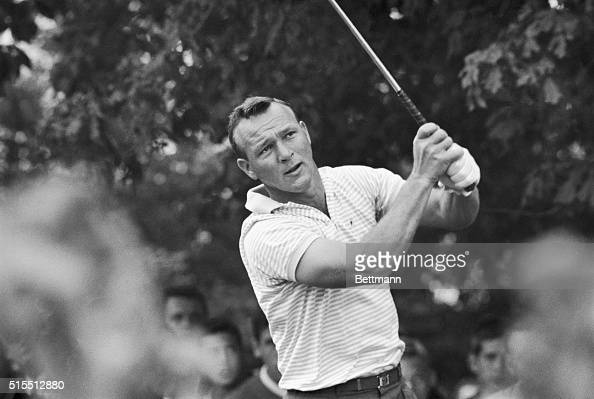 Arnold Palmer tees off on the 10th hole with a good margin of lead over Phil Rodgers and Jacky Cupit Palmer went on to win the World Series Playoff...
