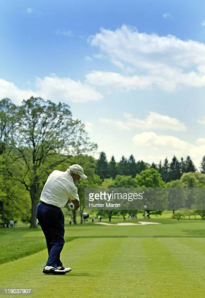 Arnold Palmer tees off on the 16th hole during the 2nd round of The 66th Senior PGA Championship at Laurel Valley CC Ligonier Pa May 27th 2005