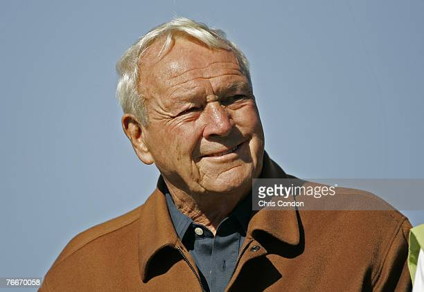 Arnold Palmer watches play during the third round of the Arnold Palmer Invitational presented by MasterCard held at Bay Hill Golf Club and Lodge in...