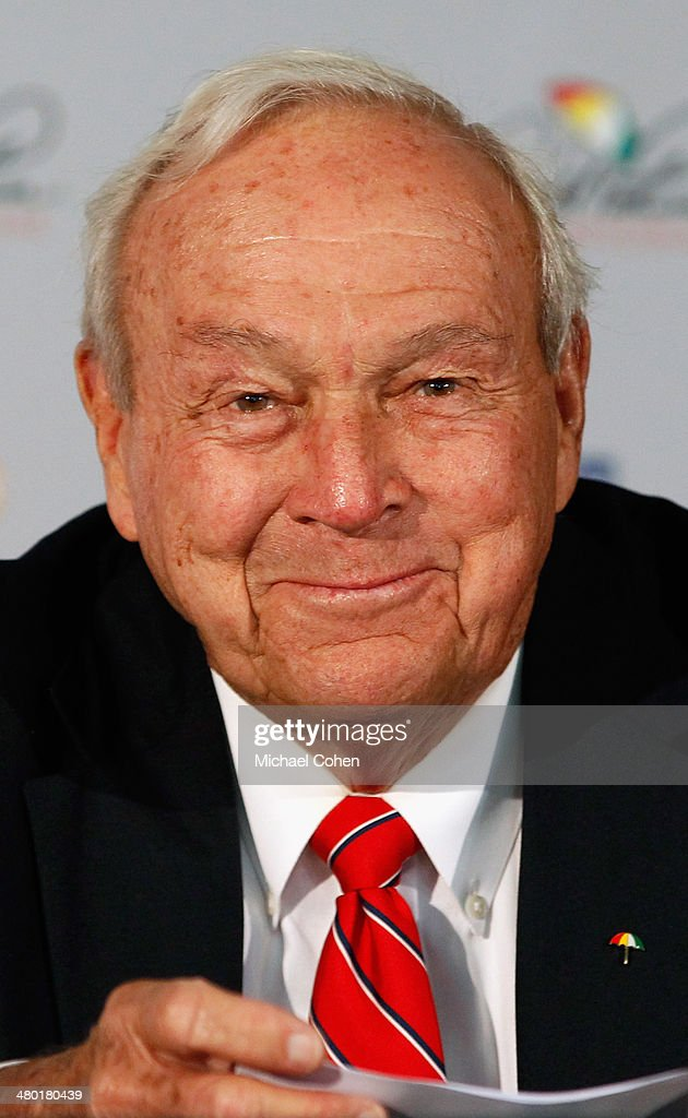 Arnold Palmer, World Golf Hall of Fame member, talks to the media during a press conference held during the final round of the Arnold Palmer Invitational presented by MasterCard at the Bay Hill Club and Lodge on March 23, 2014 in Orlando, Florida. The press conference was held to announce changes to the process for enshrinement at the World Golf Hall of Fame & Museum.
