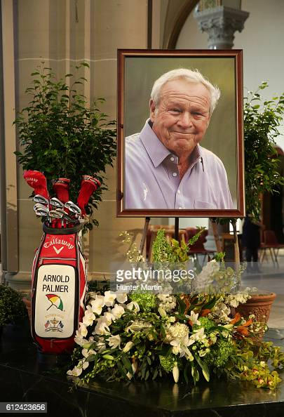 Arnold Palmer's Callaway golf bag and his portrait are displayed on the alter during a Celebration of Arnold Palmer at Saint Vincent College on...