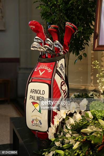 Arnold Palmer's Callaway golf bag is displayed on the alter during a Celebration of Arnold Palmer at Saint Vincent College on October 4 2016 in...