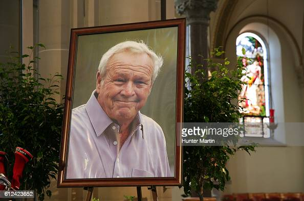 Arnold Palmer's portrait is displayed on the alter during a Celebration of Arnold Palmer at Saint Vincent College on October 4 2016 in Latrobe...