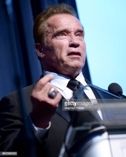 Arnold Schwarzenegger accepts the 2017 Points of Light Tribute Award at the 2017 Points of Light Gala at the French Embassy on October 19 2017 in...
