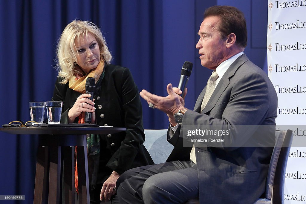 <a gi-track='captionPersonalityLinkClicked' href=/galleries/search?phrase=Arnold+Schwarzenegger&family=editorial&specificpeople=156406 ng-click='$event.stopPropagation()'>Arnold Schwarzenegger</a>, actor and former Governor of California, and moderator <a gi-track='captionPersonalityLinkClicked' href=/galleries/search?phrase=Sabine+Christiansen&family=editorial&specificpeople=745234 ng-click='$event.stopPropagation()'>Sabine Christiansen</a> attend the Lloyd Cleantech Congress on February 1, 2013 in Frankfurt am Main, Germany. The Thomas Lloyd Group invited Investors and guests to discuss actual technologies and trends in renewable energies.