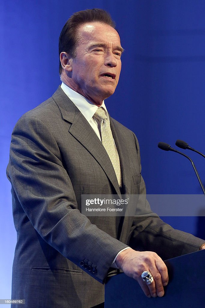 <a gi-track='captionPersonalityLinkClicked' href=/galleries/search?phrase=Arnold+Schwarzenegger&family=editorial&specificpeople=156406 ng-click='$event.stopPropagation()'>Arnold Schwarzenegger</a>, actor and former Governor of California, attends the Lloyd Cleantech Congress on February 1, 2013 in Frankfurt am Main, Germany. The Thomas Lloyd Group invited Investors and guests to discuss actual technologies and trends in renewable energies.