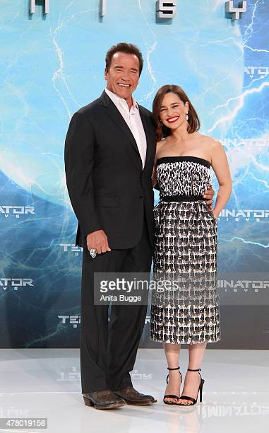 Arnold Schwarzenegger and Emilia Clarke attend the European Premiere of 'Terminator Genisys' at the CineStar Sony Center on June 21 2015 in Berlin...