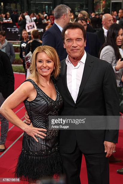 Arnold Schwarzenegger and girlfriend Heather Milligan attend the European Premiere of 'Terminator Genisys' at the CineStar Sony Center on June 21...