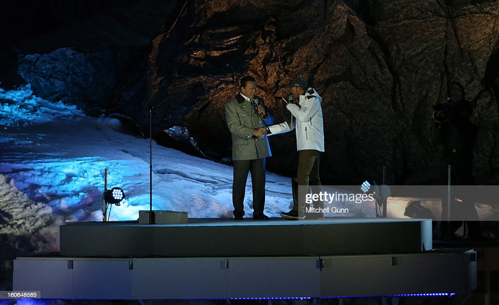 Arnold Schwarzenegger and Herman Maier during the opening ceremony for the Alpine FIS Ski World Championships on February 04, 2013 in Schladming, Austria,