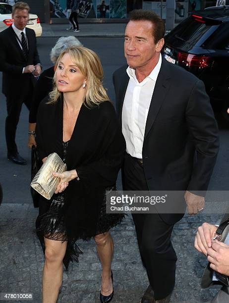 Arnold Schwarzenegger and his girlfriend Heather Milligan sighted arriving at Borchardt restaurant on June 21 2015 in Berlin Germany