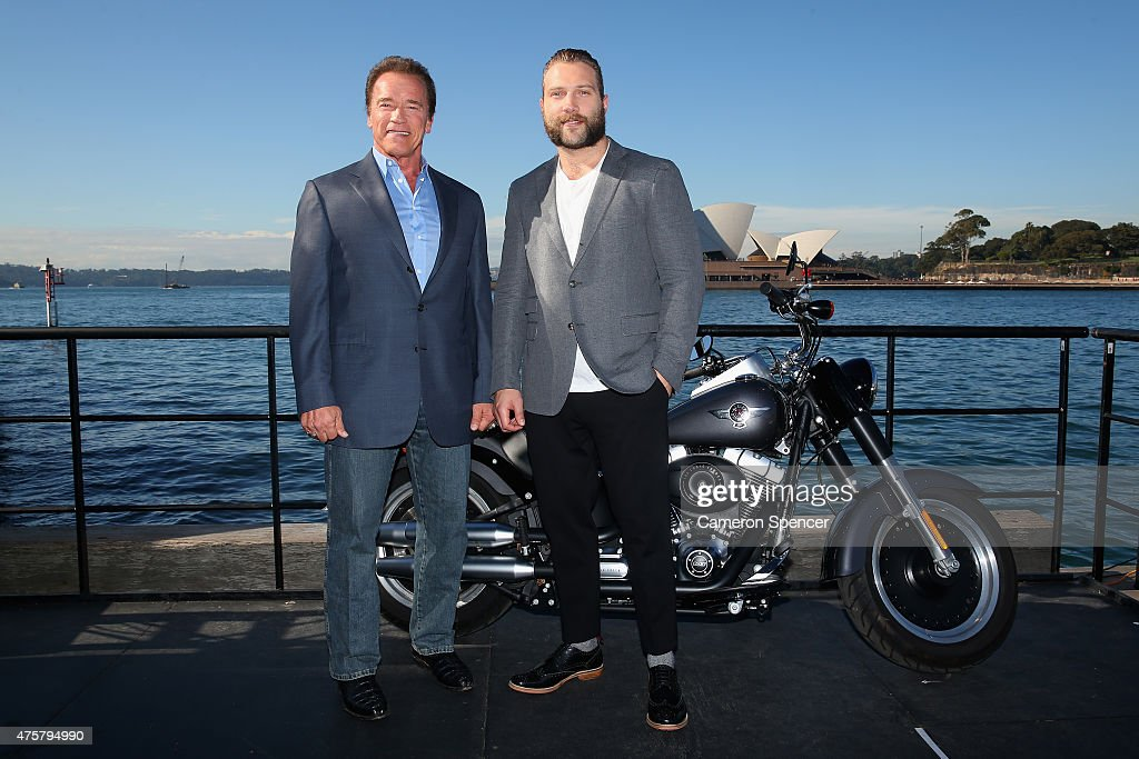 Arnold Schwarzenegger and Jai Courtney pose during a 'Terminator Genisys' photo call at the Park Hyatt Sydney on June 4, 2015 in Sydney, Australia.