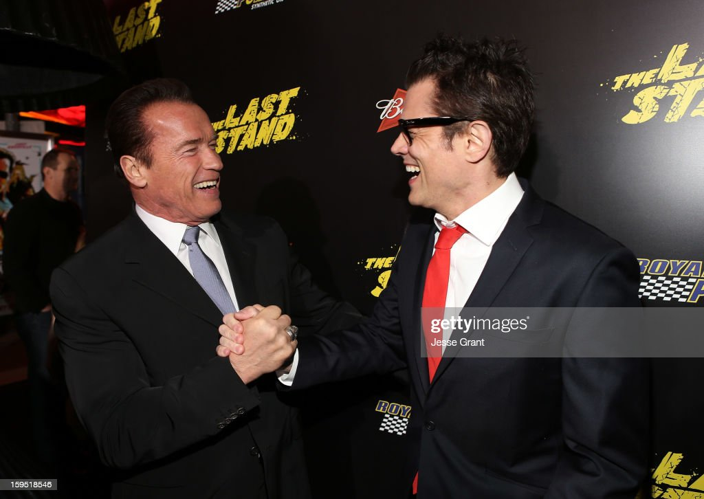 <a gi-track='captionPersonalityLinkClicked' href=/galleries/search?phrase=Arnold+Schwarzenegger&family=editorial&specificpeople=156406 ng-click='$event.stopPropagation()'>Arnold Schwarzenegger</a> and <a gi-track='captionPersonalityLinkClicked' href=/galleries/search?phrase=Johnny+Knoxville&family=editorial&specificpeople=206210 ng-click='$event.stopPropagation()'>Johnny Knoxville</a> attend 'The Last Stand' World Premiere at Grauman's Chinese Theatre on January 14, 2013 in Hollywood, California.