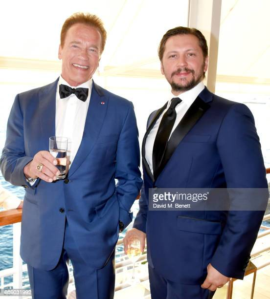 Arnold Schwarzenegger and Michele Malenotti attend the Vanity Fair and HBO Dinner celebrating the Cannes Film Festival at Hotel du CapEdenRoc on May...