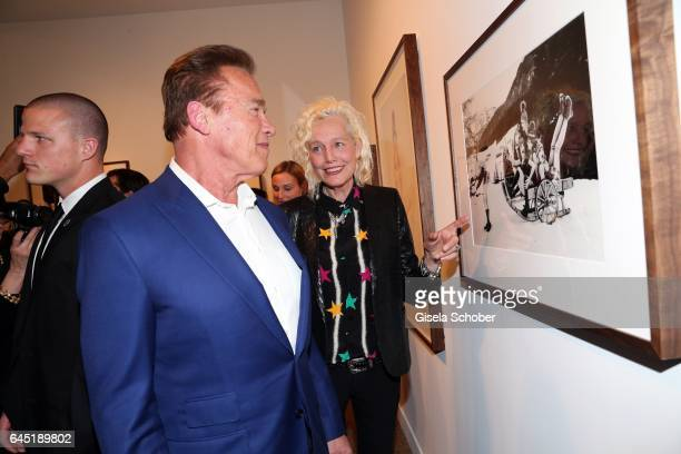 Arnold Schwarzenegger and Photographer Ellen von Unwerth during the opening night of Ellen von Unwerth's photo exhibition at TASCHEN Gallery on...