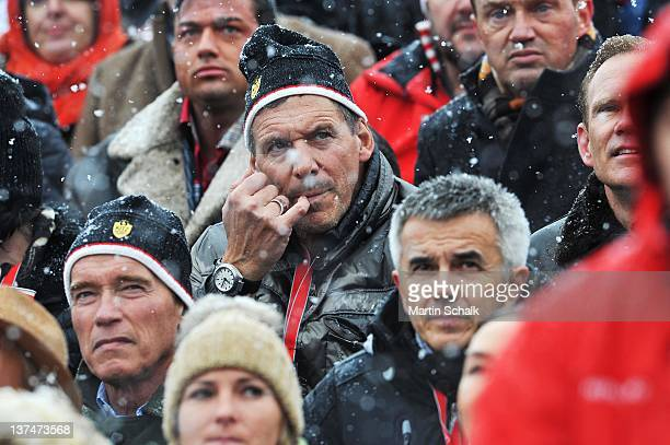 Arnold Schwarzenegger and Ralf Moeller attend the FIS Mens Downhill Worldcup race at the Streif race course on January 21 2012 in Kitzbuehel Austria