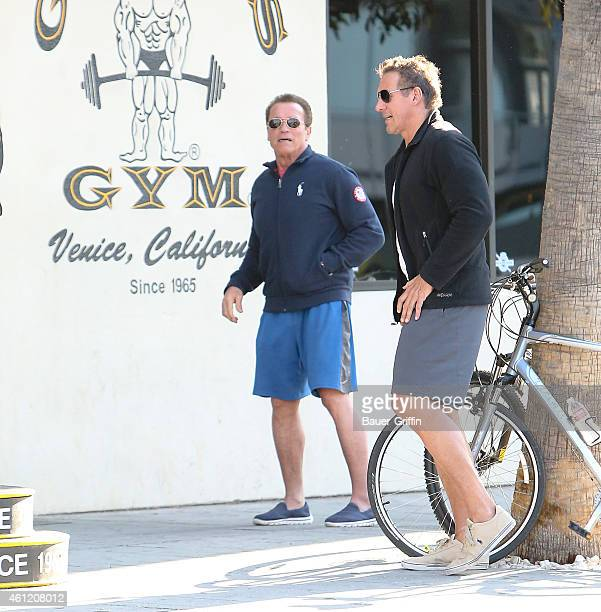 Arnold Schwarzenegger and Ralf Moller are seen on January 08 2015 in Santa Monica California