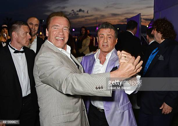Arnold Schwarzenegger and Sylvester Stallone attend 'The Expendables 3' private dinner and party at Gotha Night Club at Palm Beach on May 18 2014 in...
