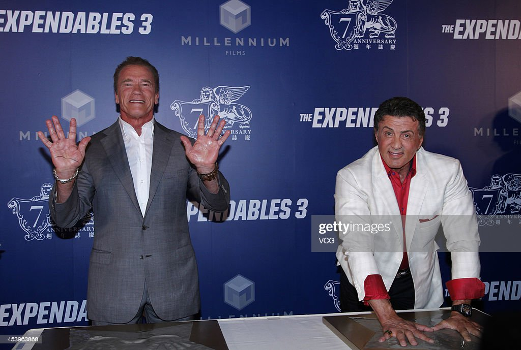 <a gi-track='captionPersonalityLinkClicked' href=/galleries/search?phrase=Arnold+Schwarzenegger&family=editorial&specificpeople=156406 ng-click='$event.stopPropagation()'>Arnold Schwarzenegger</a> (L) and <a gi-track='captionPersonalityLinkClicked' href=/galleries/search?phrase=Sylvester+Stallone&family=editorial&specificpeople=202604 ng-click='$event.stopPropagation()'>Sylvester Stallone</a> show off their hand prints during a photocall at a special screening of 'The Expendables 3' at The Venetian Macao on August 22, 2014 in Macau, Macau.