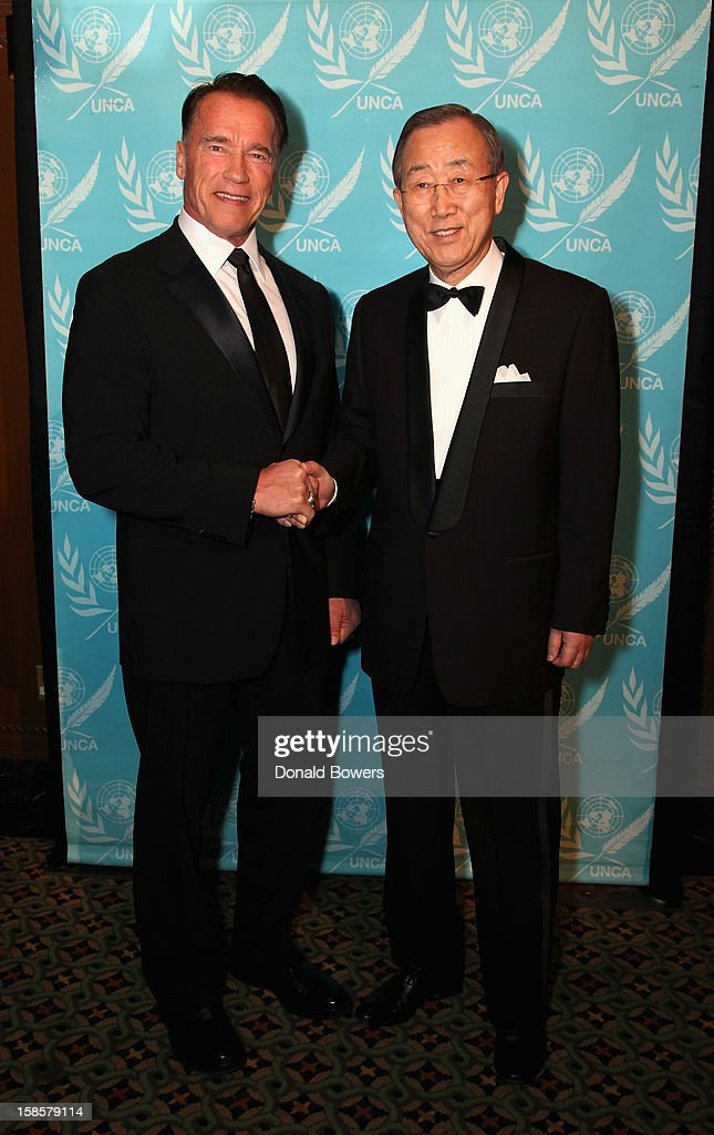 <a gi-track='captionPersonalityLinkClicked' href=/galleries/search?phrase=Arnold+Schwarzenegger&family=editorial&specificpeople=156406 ng-click='$event.stopPropagation()'>Arnold Schwarzenegger</a> and UN Secretary-General <a gi-track='captionPersonalityLinkClicked' href=/galleries/search?phrase=Ban+Ki-Moon&family=editorial&specificpeople=206144 ng-click='$event.stopPropagation()'>Ban Ki-Moon</a> arrive at a United Nations Correspondents Association event, where <a gi-track='captionPersonalityLinkClicked' href=/galleries/search?phrase=Arnold+Schwarzenegger&family=editorial&specificpeople=156406 ng-click='$event.stopPropagation()'>Arnold Schwarzenegger</a> received an award as a 2012 Global Advocate of the Year at Cipriani 42nd Street on December 19, 2012 in New York City. <a gi-track='captionPersonalityLinkClicked' href=/galleries/search?phrase=Arnold+Schwarzenegger&family=editorial&specificpeople=156406 ng-click='$event.stopPropagation()'>Arnold Schwarzenegger</a> stars in the upcoming Lionsgate film 'The Last Stand'.
