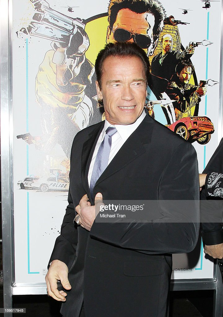 <a gi-track='captionPersonalityLinkClicked' href=/galleries/search?phrase=Arnold+Schwarzenegger&family=editorial&specificpeople=156406 ng-click='$event.stopPropagation()'>Arnold Schwarzenegger</a> arrives at the Los Angeles premiere of 'The Last Stand' held at Grauman's Chinese Theatre on January 14, 2013 in Hollywood, California.