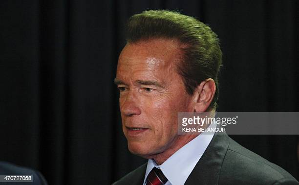 Arnold Schwarzenegger arrives for a screening of the movie 'Maggie' during the 2015 Tribeca Film Festival at the Tribeca Performing Arts Center on...