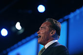 Arnold Schwarzenegger at the Hordan Pavilion talks to the audience as part of his role as keynote speaker at Jamie McIntyre's 21st Century Financial...