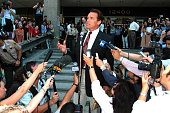 Arnold Schwarzenegger at the Los Angeles Registrar's office in Norwalk California where he pulled papers to file to be a candidate for governor of...