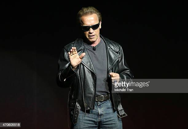 Arnold Schwarzenegger attends 2015 CinemaCon The State Of The Industry Past Present and Future Paramount presentation held at Caesars Palace Resorts...