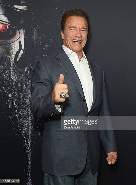 Arnold Schwarzenegger attends the Australia Screening of 'Terminator Genisys' at the Event Cinemas on June 4 2015 in Sydney Australia