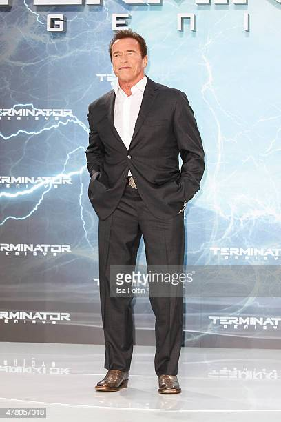 Arnold Schwarzenegger attends the European Premiere of 'Terminator Genisys' at the CineStar Sony Center on June 21 2015 in Berlin Germany