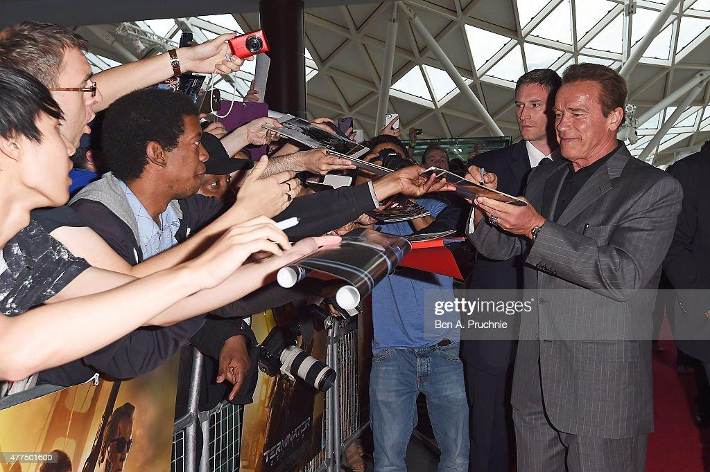 Arnold Schwarzenegger attends the Fan Footage Event of 'Terminator Genisys' at Vue Westfield on June 17, 2015 in London, England.