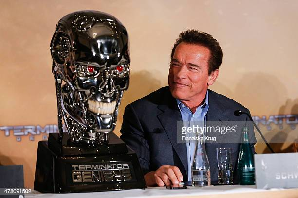 Arnold Schwarzenegger attends the international press conference of 'Terminator Genisys' on June 22 2015 in Berlin Germany